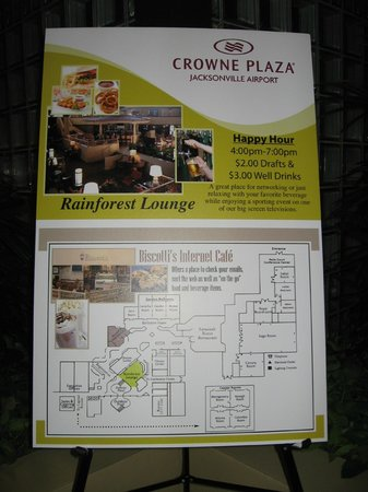 Crowne Plaza Jacksonville Airport Hotel: Crowne Plaza directional board showing layout of hotel