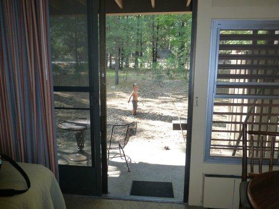 Yosemite Valley Lodge: Sliding door and windows do open up!