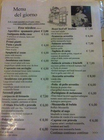 La Cantina di Via Sapienza: menù