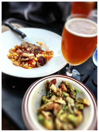 Liquids and Solids at the handlebar: my amazing lamb succotash and fried brussel sprouts