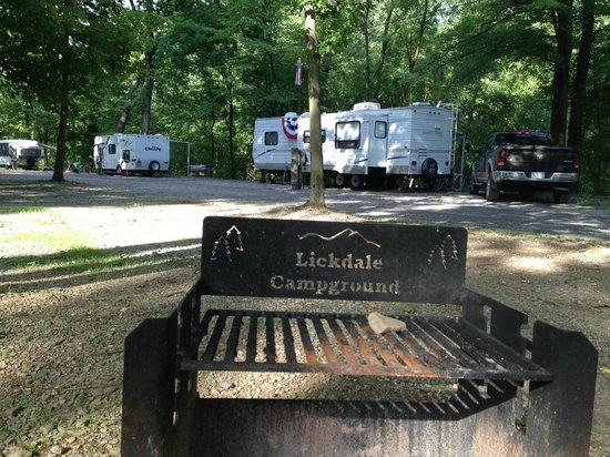 Lickdale Campground: Old campground name on firepit