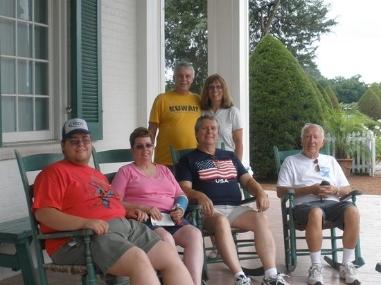 Carnton Plantation: Our Family relaxing on the porch before the tour