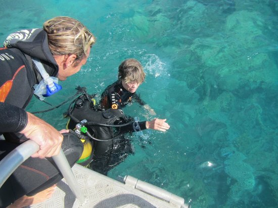TOPDIVE Bora Bora: Another helpful moment: taking the BC off in the water for our small females.