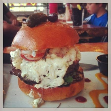 Phusion Grille: Burger with lobster. Amazing!