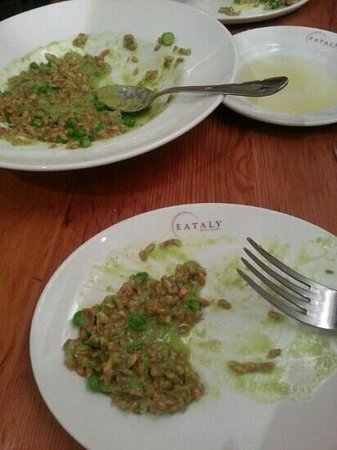 EATALY - Lingotto - LE VERDURE : farro rissotto with peas and shaved asparagus