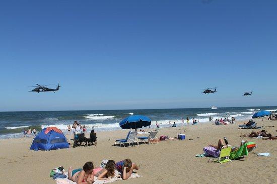 Virginia Beach, VA: Military helicopters flying near the beach
