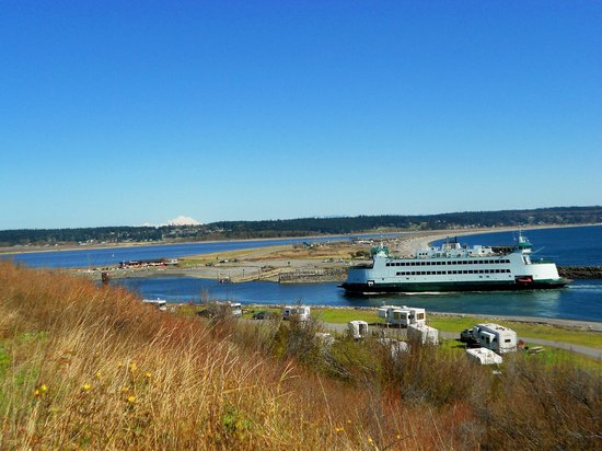 Fort Casey State Park: View from Fort Casey of Port Townsend ferry - 3-31-2013