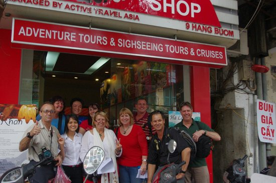 Active Travel Asia: Our Group with Ms Candy outside their office in Hanoi