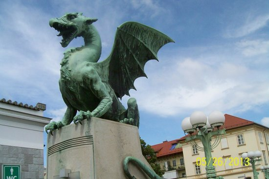 Ljubljana Free Tour: one of a number of  Bronzes