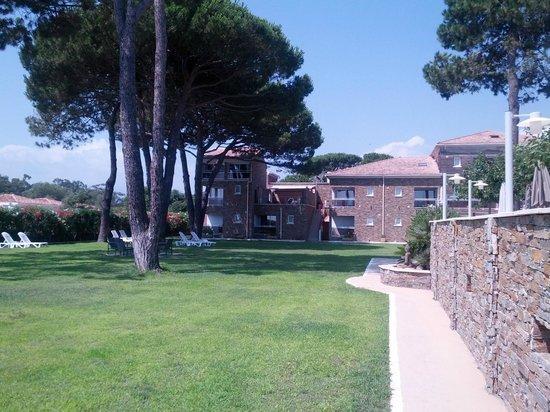 Hotel La Lagune : Le jardin, on peut s'y reposer, tables et chaises longues
