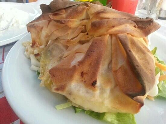 Rouvelas: Goats cheese in filo pastry.