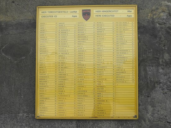 Fort de Breendonk : names of those murdered