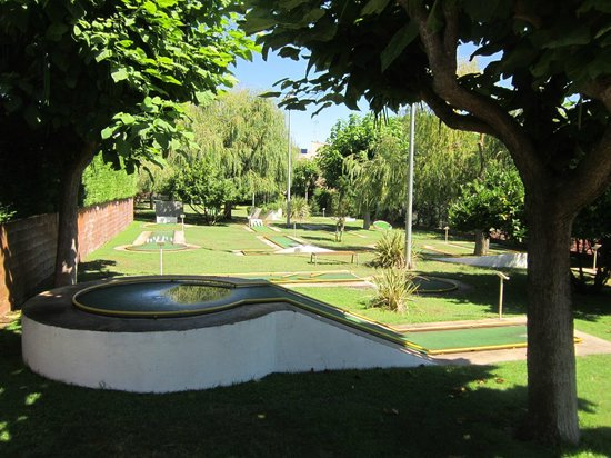 Mini golf, looking towards the Hotel Ancora