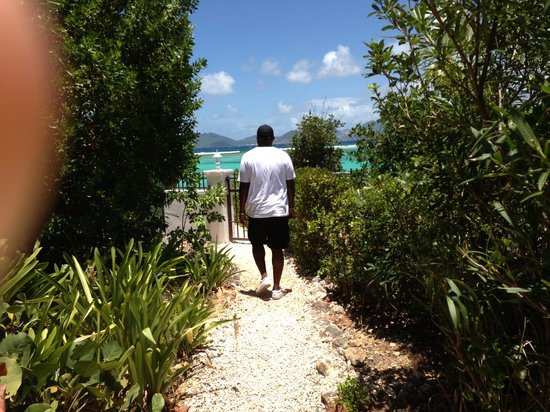 walkway from villa to private beach