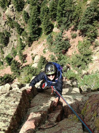 Climbing a multi-pitch route in Eldorado Canyon.