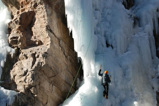 Ice climbing in the world famous Ouray Ice Park.