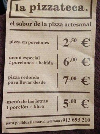 La Pizzateca : menu