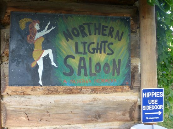 Northern Lights Saloon and Cafe: Cool logo, hilarious hippy sign :)
