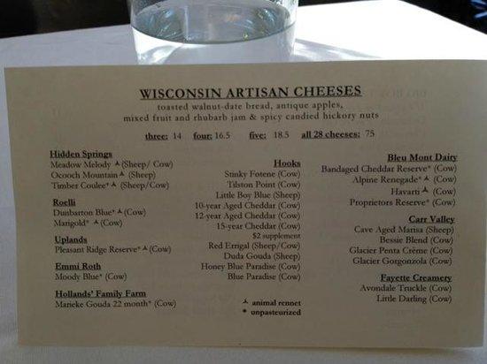 L'Etoile Restaurant: carte des fromages