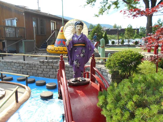 Around the World Miniature Golf : This bridge sits near a Japan-themed hole.