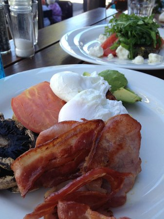 The Little Larder Port Douglas: bacon and eggs with ava and mushies