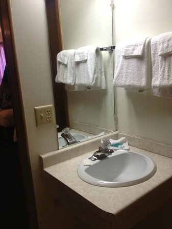Mt. Olympus Water & Theme Park: Tiny sink, Motel 6 towels - cheap and gross