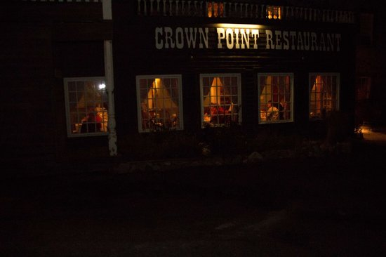 The Crown Point Restaurant at night