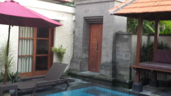 Bali Sanur Beach Villas: Looking from the master suite across the pool towards the gate