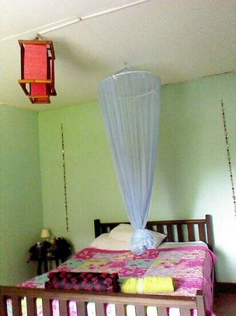 Ang Yee's Guest House : Double bed with mosquito net. Fan room but aircon room available.