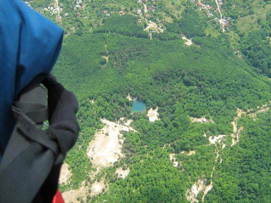 Baia Sprie, Roemenië: The Blue Lake - view from the sky