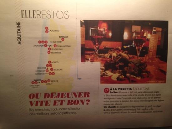 La Pizzetta : article dans ELLE