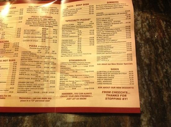 Cheech's Italian Restaurant and Pizzaria: menu2