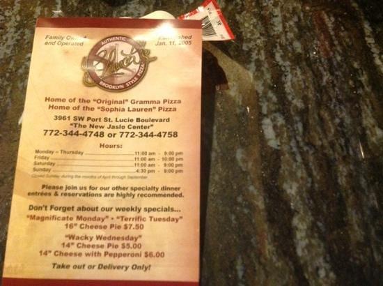 Cheech's Italian Restaurant and Pizzaria: backside