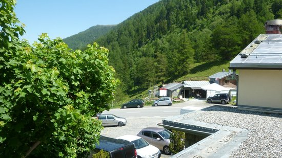 """Hôtel de la Forclaz: view from our room to the """"shack"""" that sold wine and meat"""
