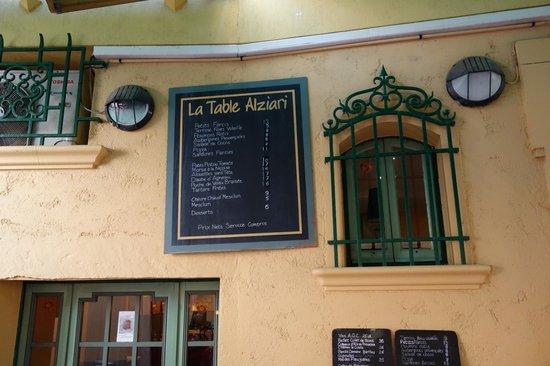 The Menu Picture Of La Table Alziari Nice Tripadvisor