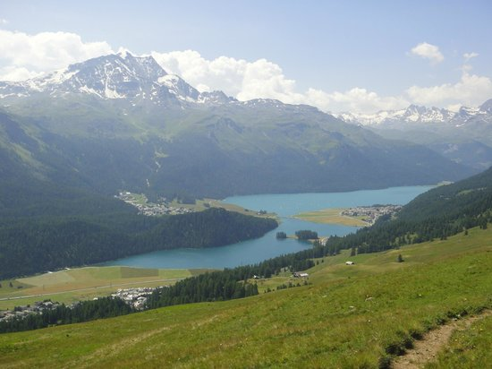 Engadine: view to the lakes from Corviglia, near el paradiso