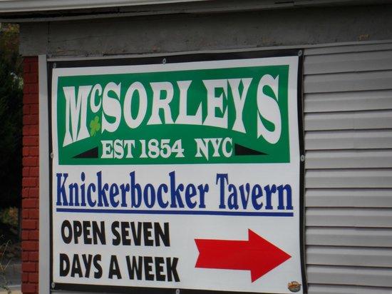 The Knickerbocker: Parking lot sign at Knickerbockers Tavern