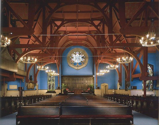 First Unitarian Church of Philadelphia: First Unitarian Church, interior, original color scheme, stained glass by Tiffany and LaFarge