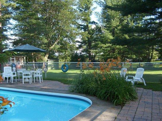 Chalets et Motel Lac Brome: Espace piscine et terrasse