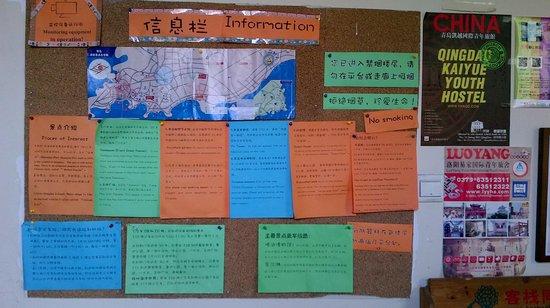 Kaiyue Hostel: Babillard d'informations