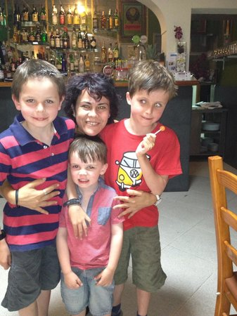 Il Vesuvio: Paula the waitress with our boys