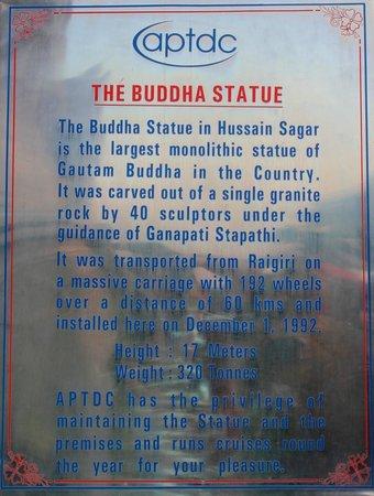 Lumbini Park : Information board of Statue...