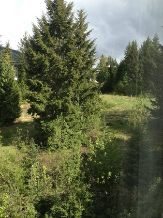 The Westin Resort & Spa, Whistler: view directly outside window - bmxers travelling down during day
