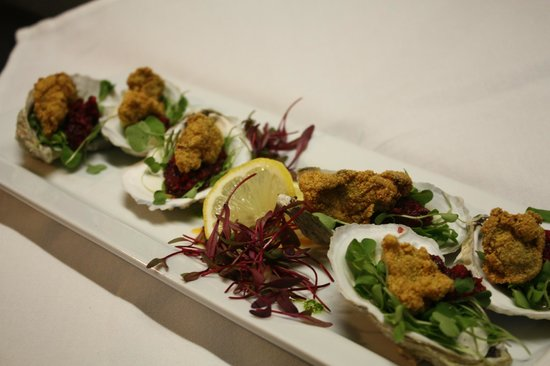 Oxford House Inn: Cornmeal Crusted Oysters with Cranberry Mignonette