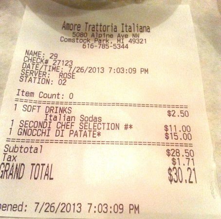 Amore Trattoria Italiana: The receipt...so shocked to see how cheap it was!