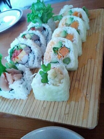 Sushi Bar 5517: soybean veggie roll and house roll