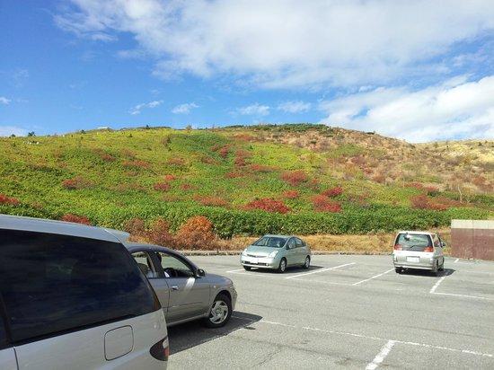 Mt. Kusatsu-Shirane: 駐車場から。この山を登ります。