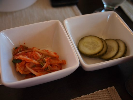 An's Restaurant: Kim chi and pickled cucumber