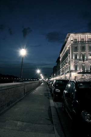 The Westin Excelsior Florence: Hotel on right, night view along river
