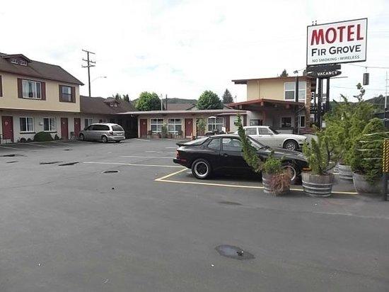 Fir Grove Motel: Parking lot looking south